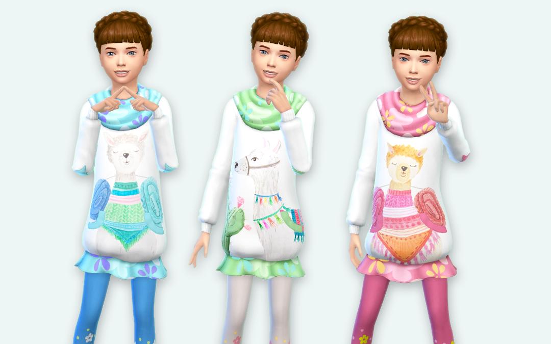 Llama Kids Sweater Dress