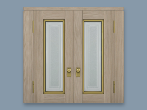 RH Double Doors with Frosted Glass